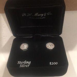 NWT Sterling Silver Diamond Earrings